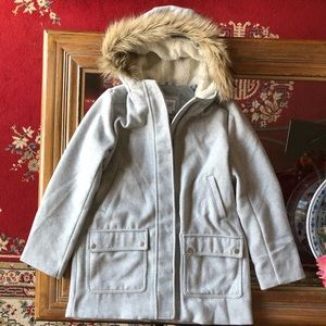 •GAP• Wool Blend Gray Coat Hood Faux Fur Girls XXL